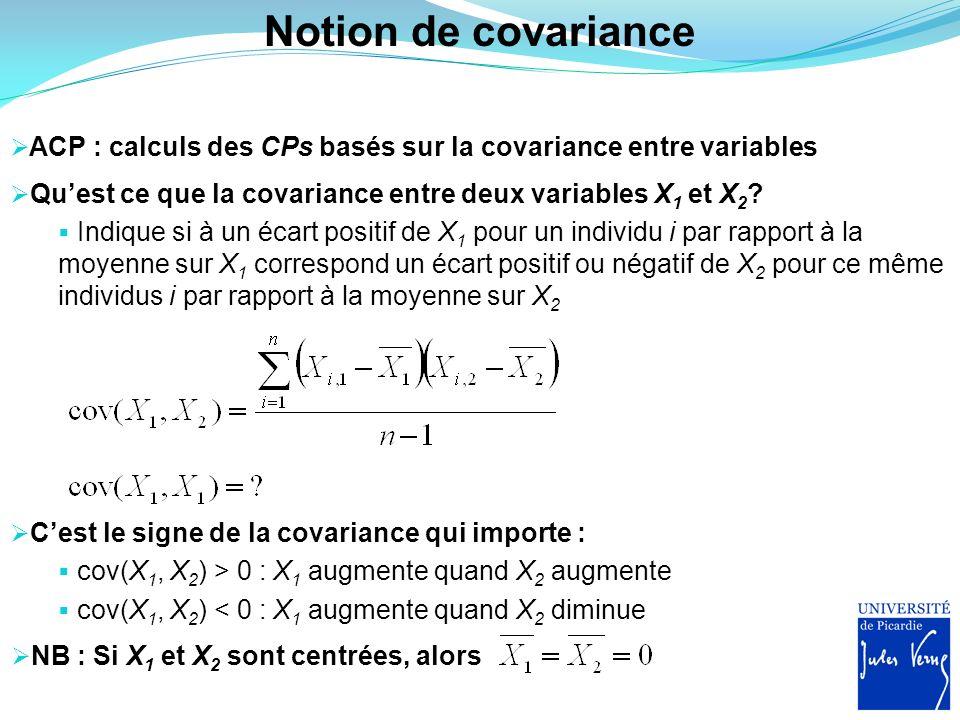 Notion de covariance ACP : calculs des CPs basés sur la covariance entre variables. Qu'est ce que la covariance entre deux variables X1 et X2