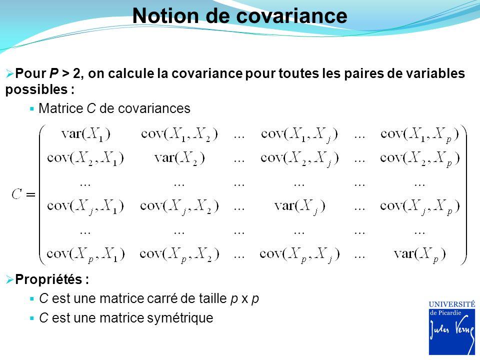 Notion de covariance Pour P > 2, on calcule la covariance pour toutes les paires de variables possibles :