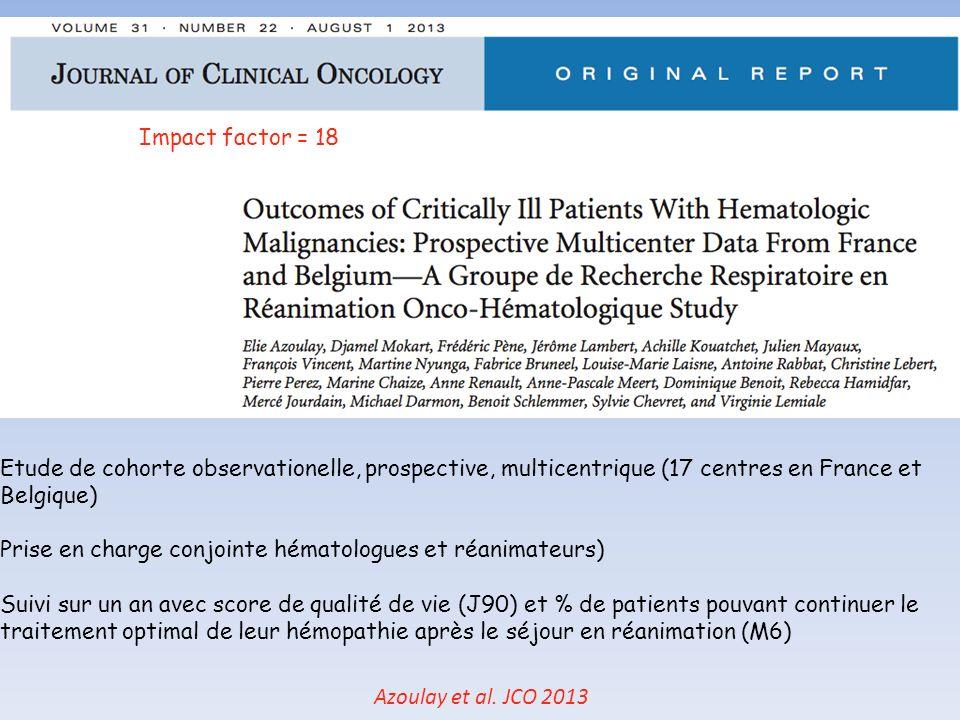 Impact factor = 18 Etude de cohorte observationelle, prospective, multicentrique (17 centres en France et Belgique)