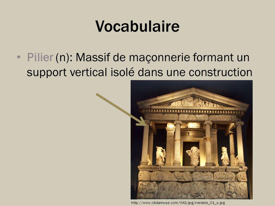 Vocabulaire Pilier (n): Massif de maçonnerie formant un support vertical isolé dans une construction.