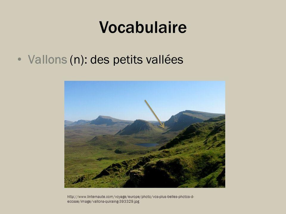 Vocabulaire Vallons (n): des petits vallées