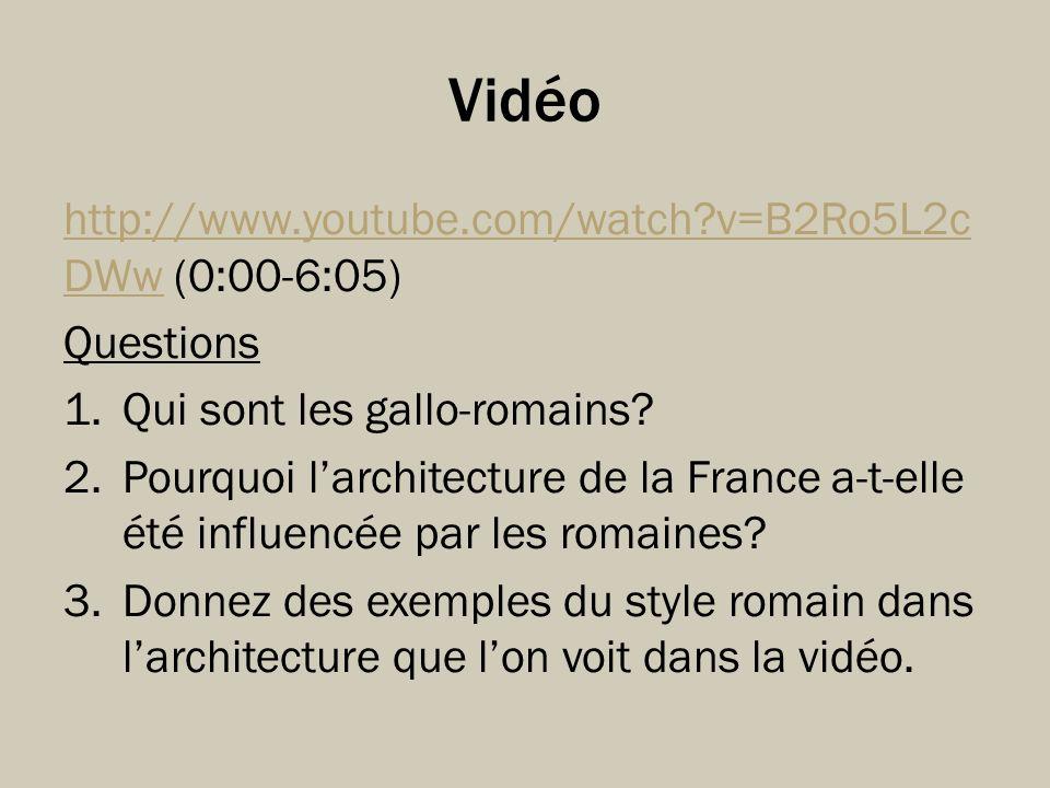 Vidéo http://www.youtube.com/watch v=B2Ro5L2cDWw (0:00-6:05) Questions