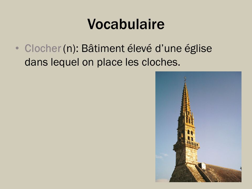 Vocabulaire Clocher (n): Bâtiment élevé d'une église dans lequel on place les cloches.