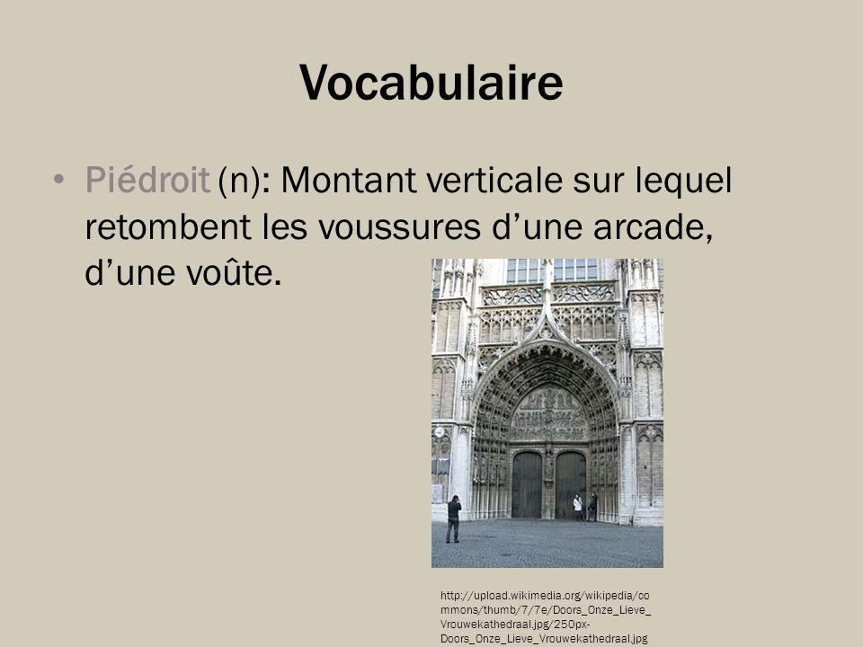 Vocabulaire Piédroit (n): Montant verticale sur lequel retombent les voussures d'une arcade, d'une voûte.