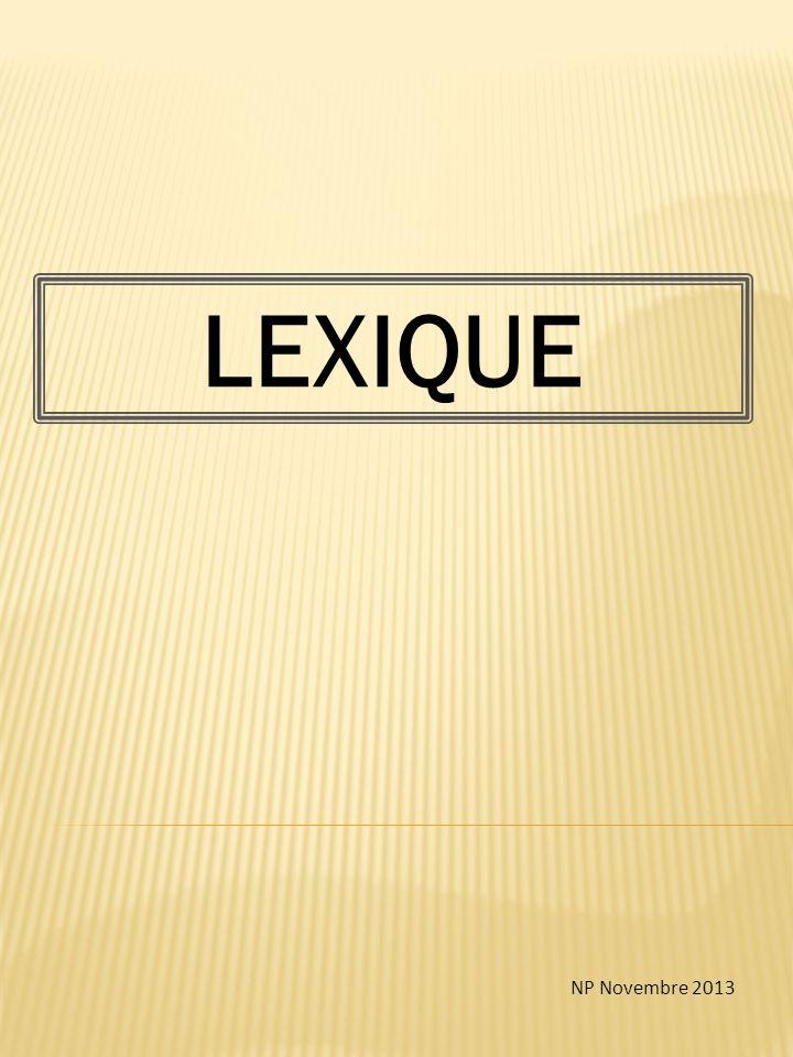LEXIQUE NP Novembre 2013