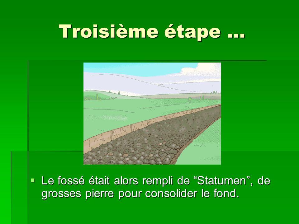Troisième étape … Le fossé était alors rempli de Statumen , de grosses pierre pour consolider le fond.