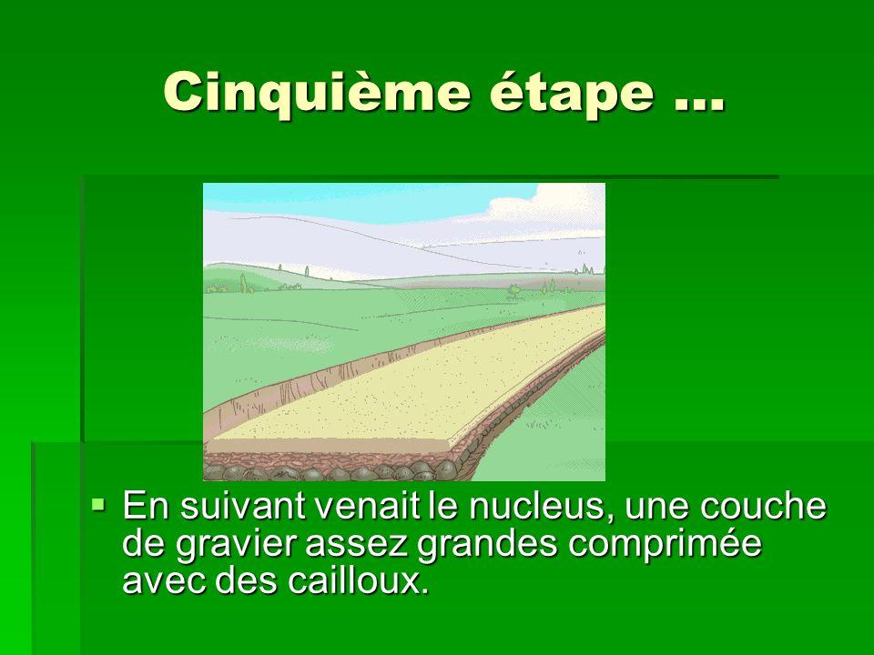 Cinquième étape … En suivant venait le nucleus, une couche de gravier assez grandes comprimée avec des cailloux.