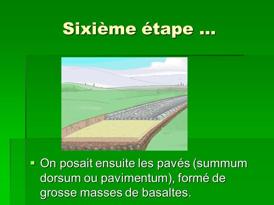 Sixième étape … On posait ensuite les pavés (summum dorsum ou pavimentum), formé de grosse masses de basaltes.