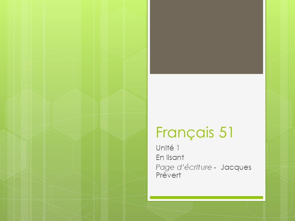 Unité 1 En lisant Page d'écriture - Jacques Prévert