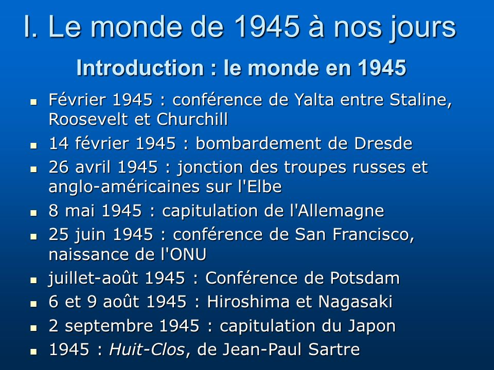 Introduction : le monde en 1945
