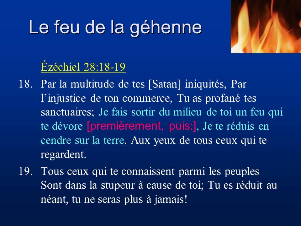 Le feu de la géhenne Ézéchiel 28:18-19