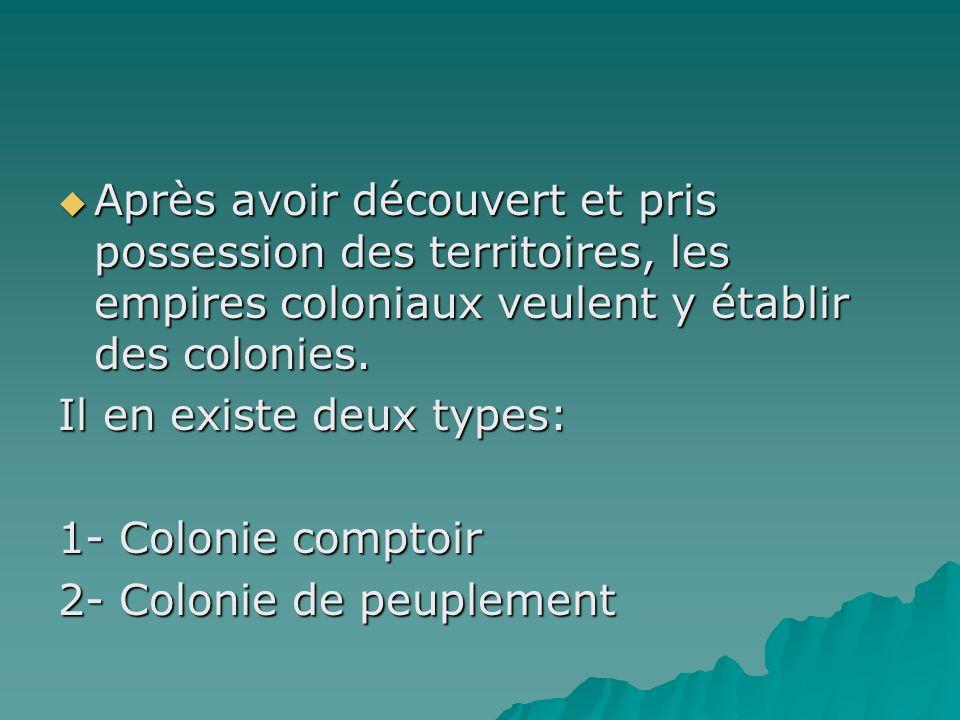 Après avoir découvert et pris possession des territoires, les empires coloniaux veulent y établir des colonies.