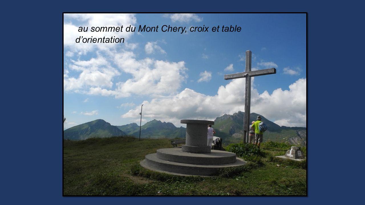 au sommet du Mont Chery, croix et table d'orientation