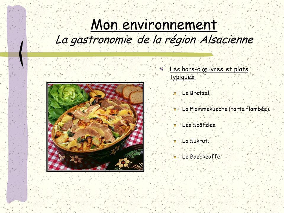 Mon environnement La gastronomie de la région Alsacienne