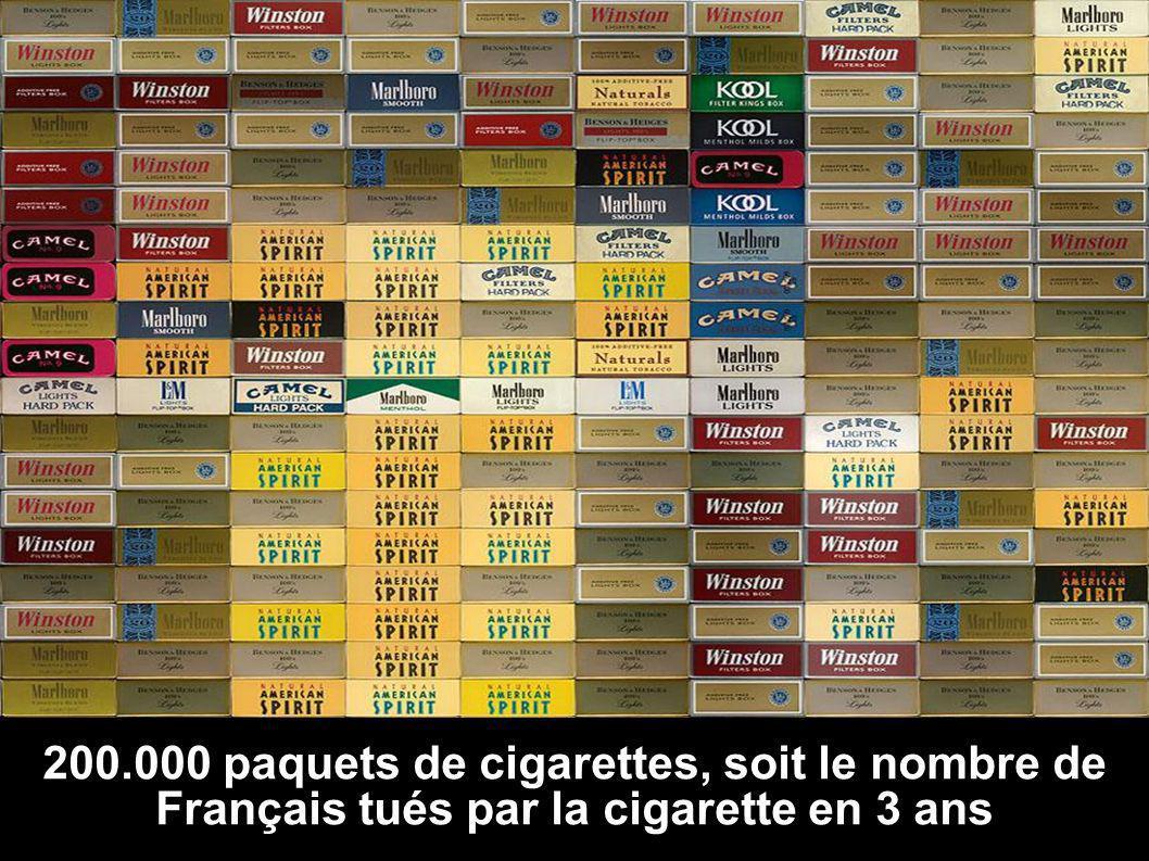200.000 paquets de cigarettes, soit le nombre de Français tués par la cigarette en 3 ans
