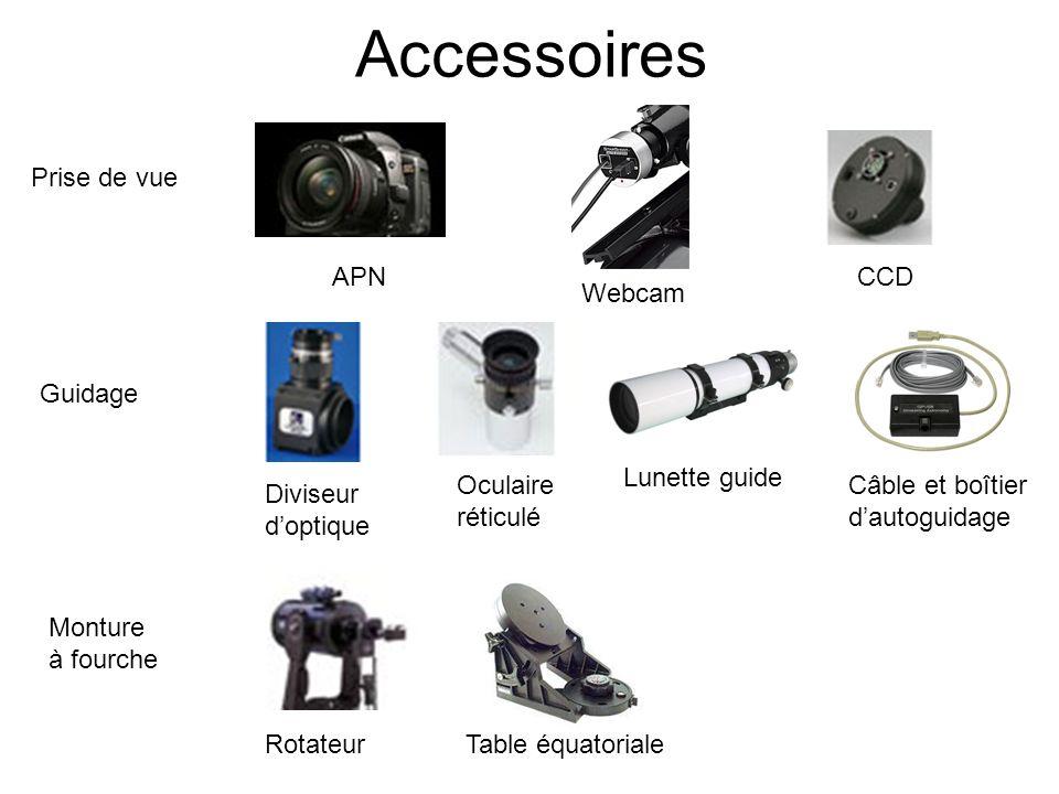 Accessoires Prise de vue APN CCD Webcam Guidage Lunette guide Oculaire