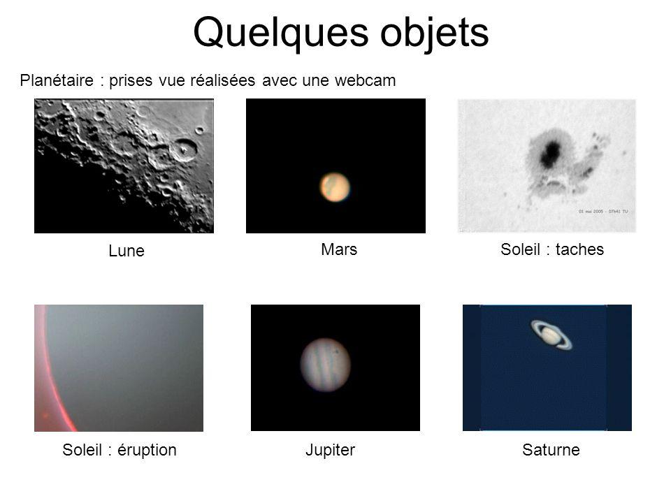 Quelques objets Planétaire : prises vue réalisées avec une webcam Lune