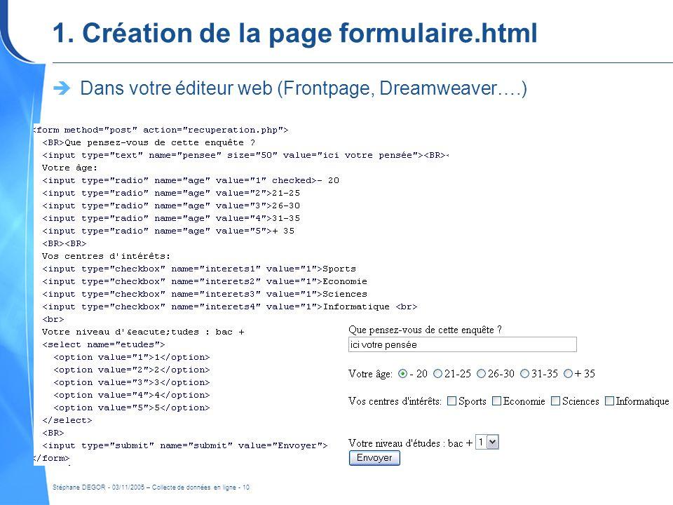 1. Création de la page formulaire.html