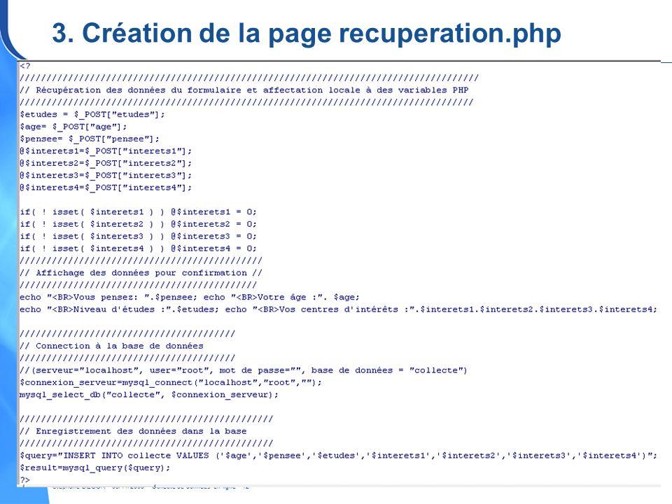 3. Création de la page recuperation.php