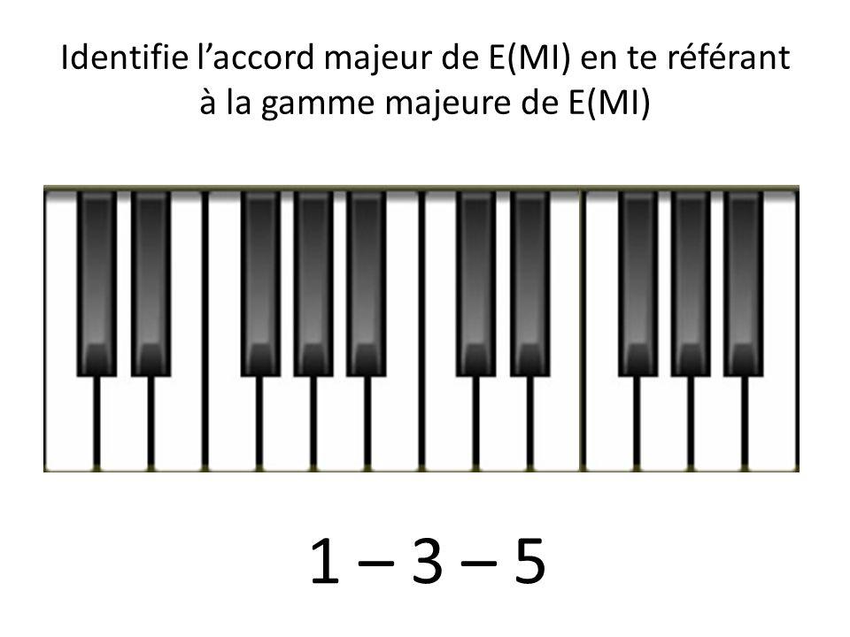 Identifie l'accord majeur de E(MI) en te référant à la gamme majeure de E(MI)