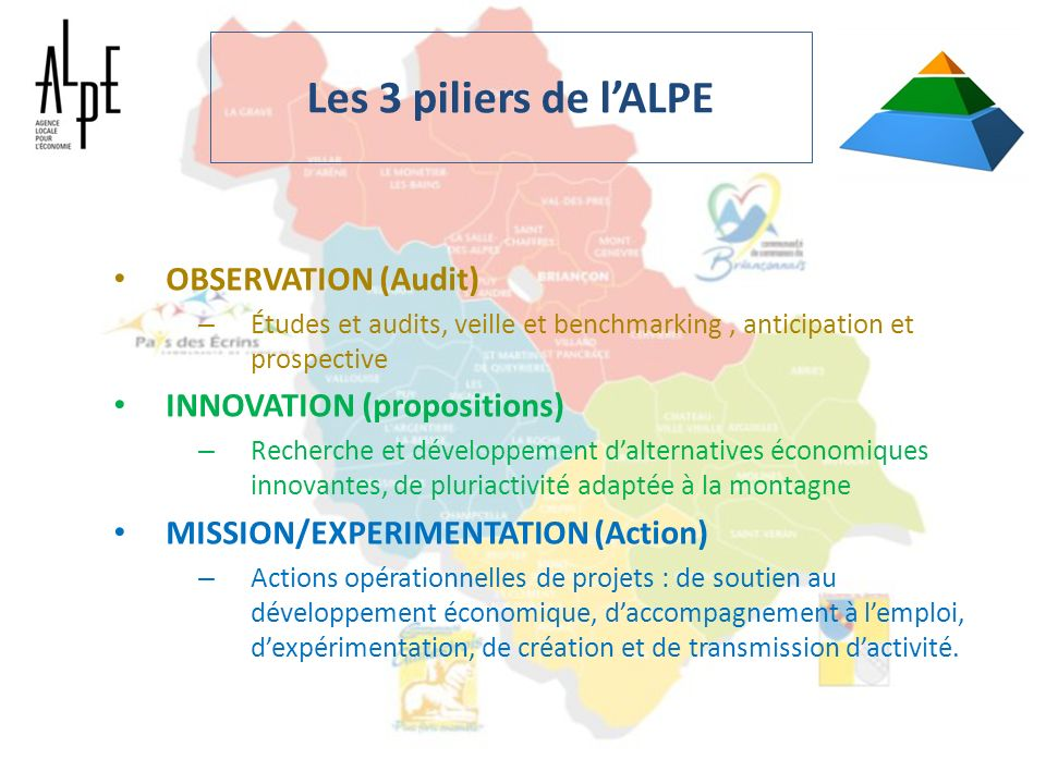 Les 3 piliers de l'ALPE OBSERVATION (Audit) INNOVATION (propositions)