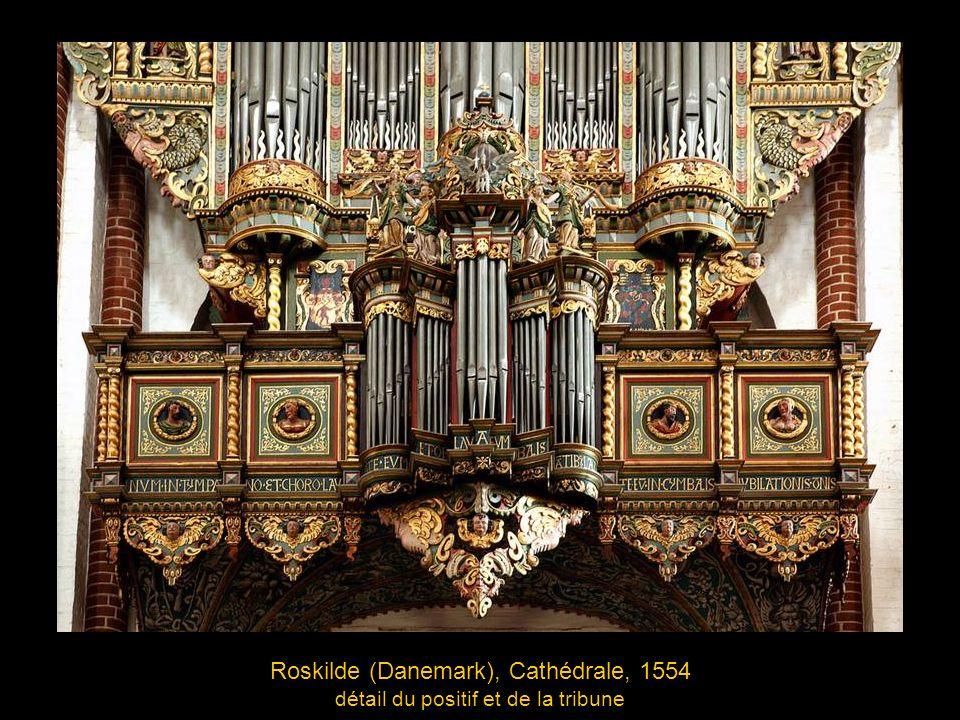 Roskilde (Danemark), Cathédrale, 1554 détail du positif et de la tribune