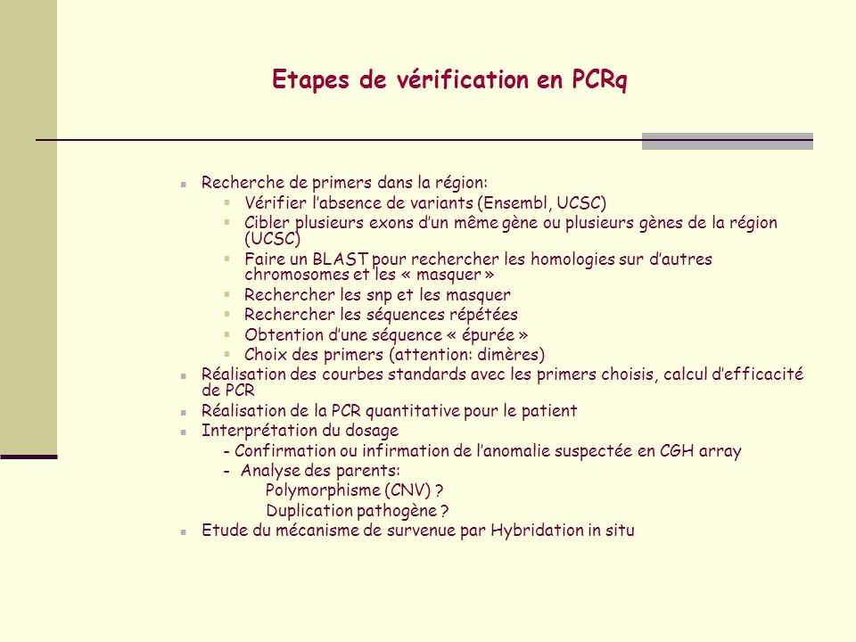 Etapes de vérification en PCRq