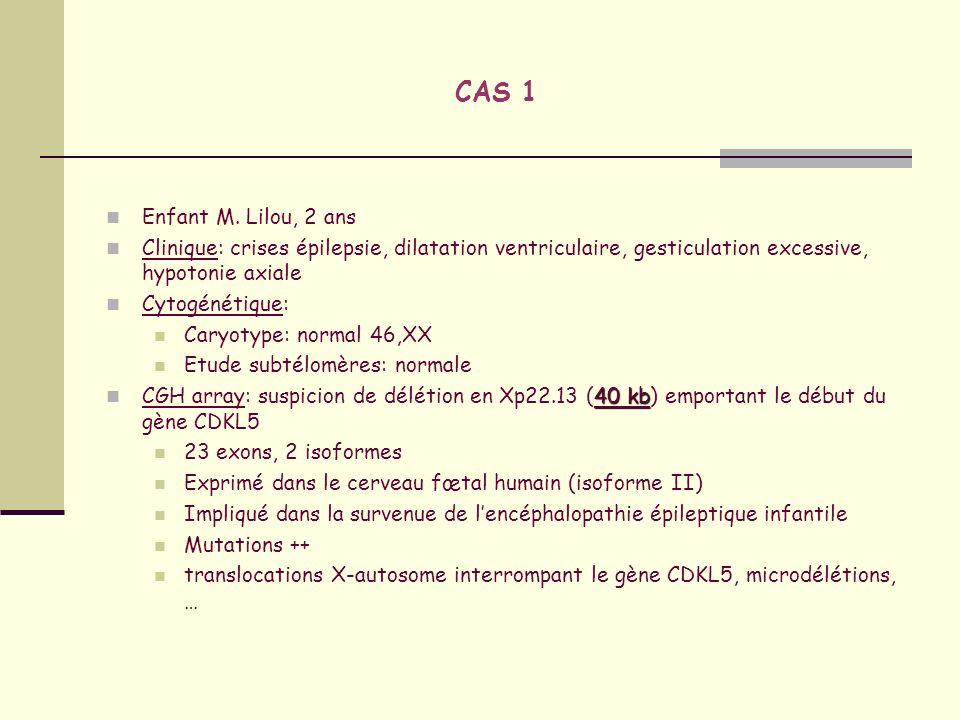 CAS 1 Enfant M. Lilou, 2 ans. Clinique: crises épilepsie, dilatation ventriculaire, gesticulation excessive, hypotonie axiale.