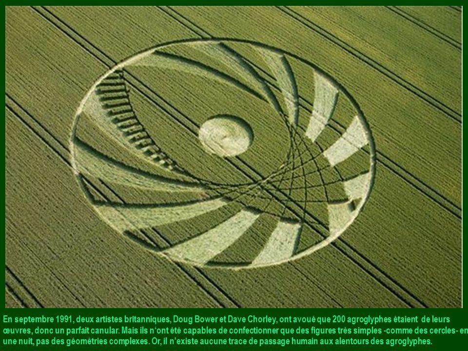 En septembre 1991, deux artistes britanniques, Doug Bower et Dave Chorley, ont avoué que 200 agroglyphes étaient de leurs œuvres, donc un parfait canular.