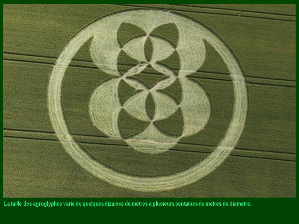 La taille des agroglyphes varie de quelques dizaines de mètres à plusieurs centaines de mètres de diamètre.