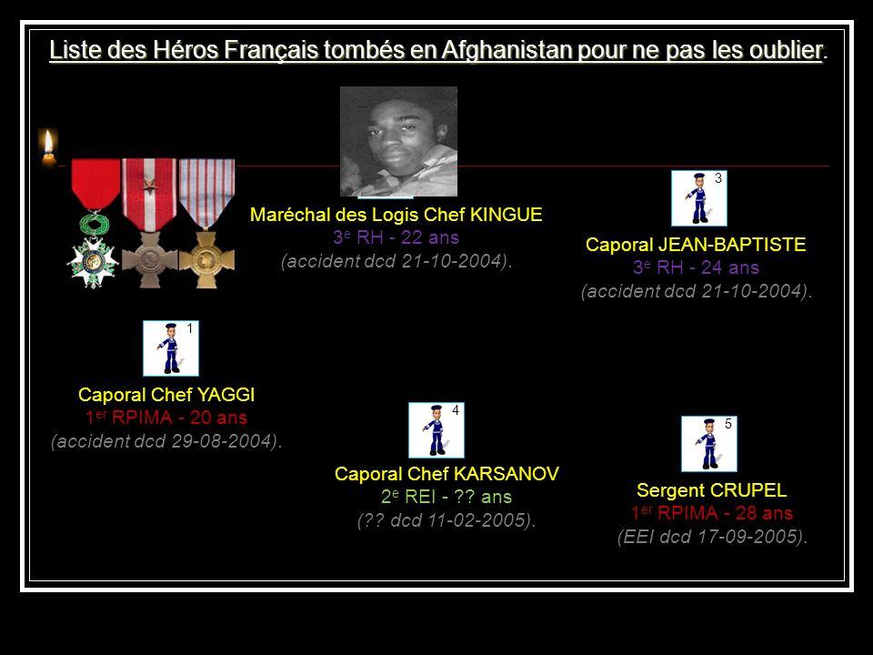 Liste des Héros Français tombés en Afghanistan pour ne pas les oublier.