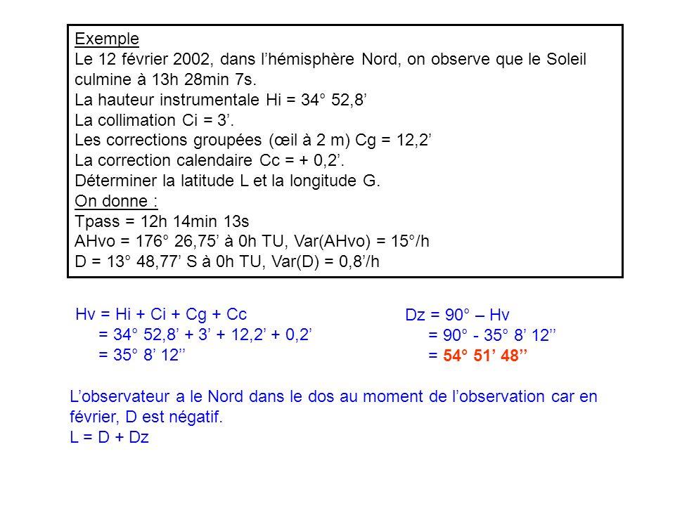 Exemple Le 12 février 2002, dans l'hémisphère Nord, on observe que le Soleil culmine à 13h 28min 7s.