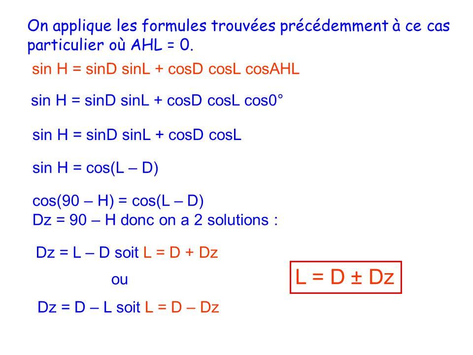 On applique les formules trouvées précédemment à ce cas particulier où AHL = 0.