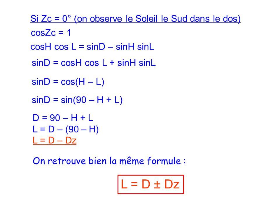 L = D ± Dz Si Zc = 0° (on observe le Soleil le Sud dans le dos)