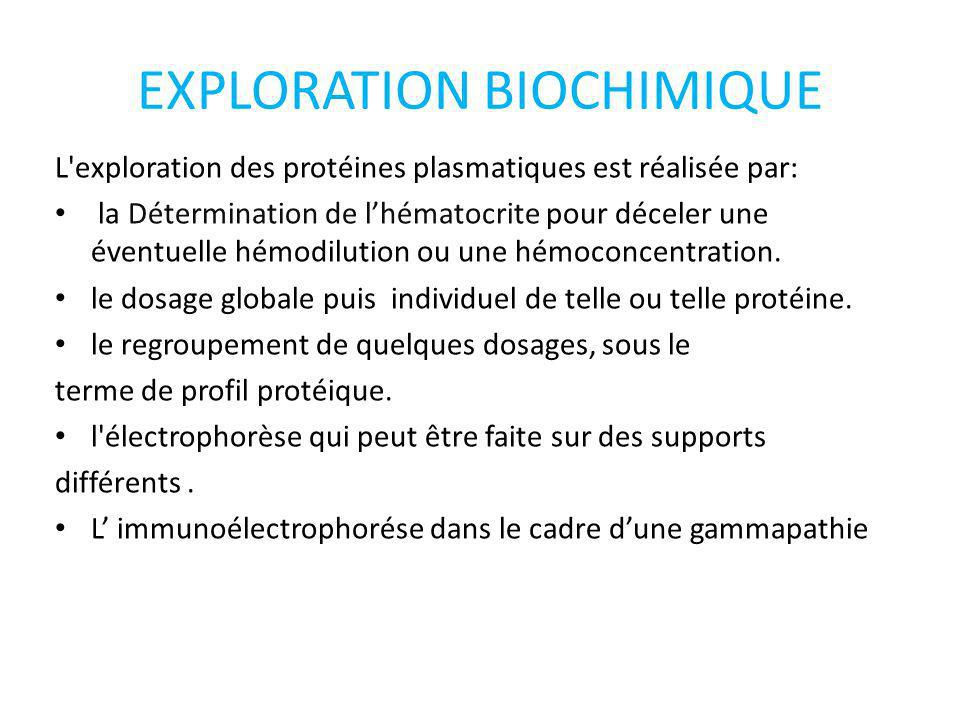 EXPLORATION BIOCHIMIQUE