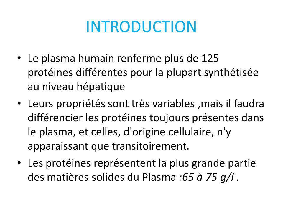 INTRODUCTION Le plasma humain renferme plus de 125 protéines différentes pour la plupart synthétisée au niveau hépatique.