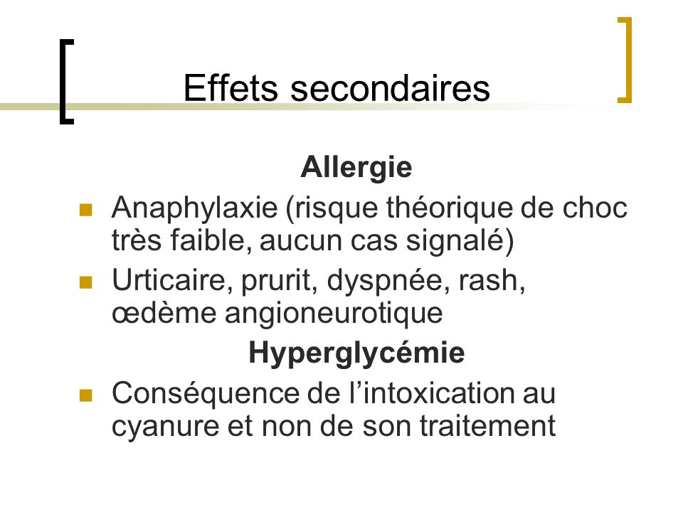 Effets secondaires Allergie
