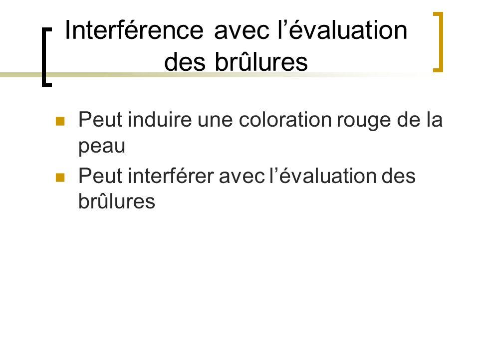 Interférence avec l'évaluation des brûlures