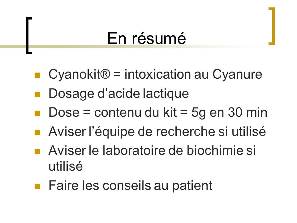 En résumé Cyanokit® = intoxication au Cyanure Dosage d'acide lactique