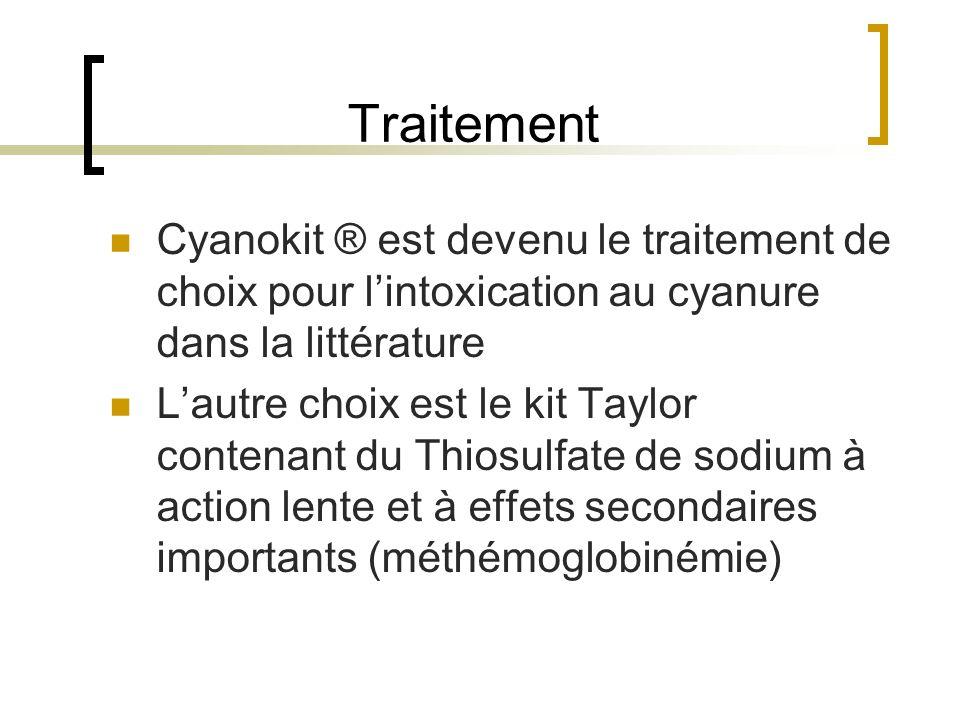 Traitement Cyanokit ® est devenu le traitement de choix pour l'intoxication au cyanure dans la littérature.