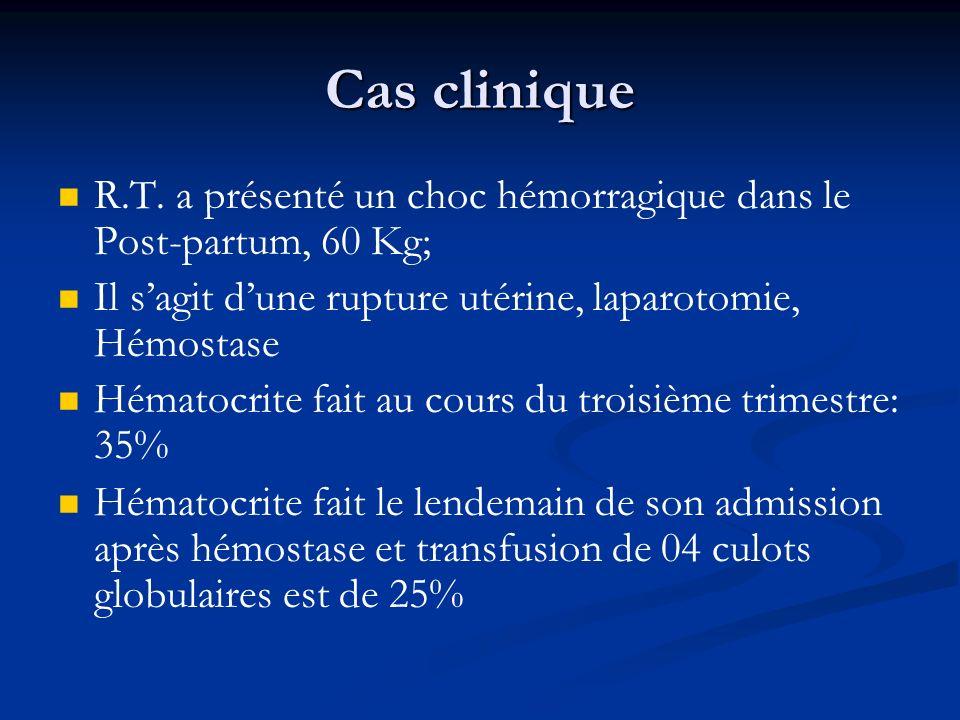 Cas clinique R.T. a présenté un choc hémorragique dans le Post-partum, 60 Kg; Il s'agit d'une rupture utérine, laparotomie, Hémostase.