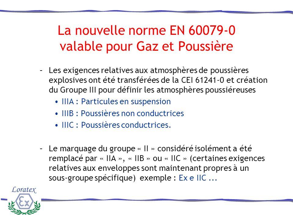 La nouvelle norme EN 60079-0 valable pour Gaz et Poussière