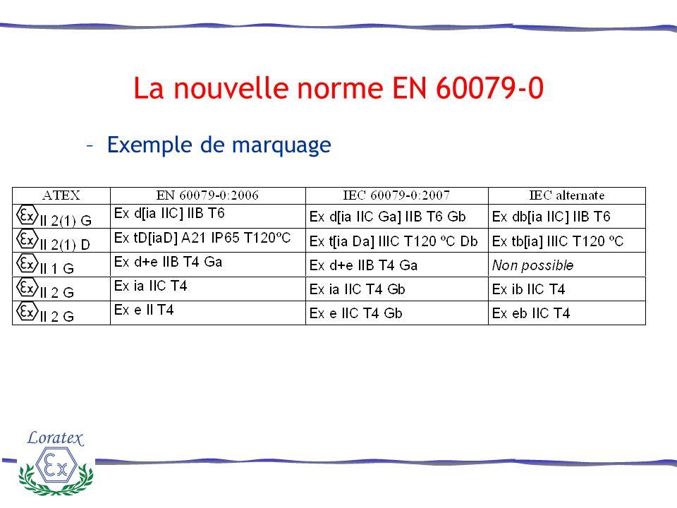 La nouvelle norme EN 60079-0 Exemple de marquage