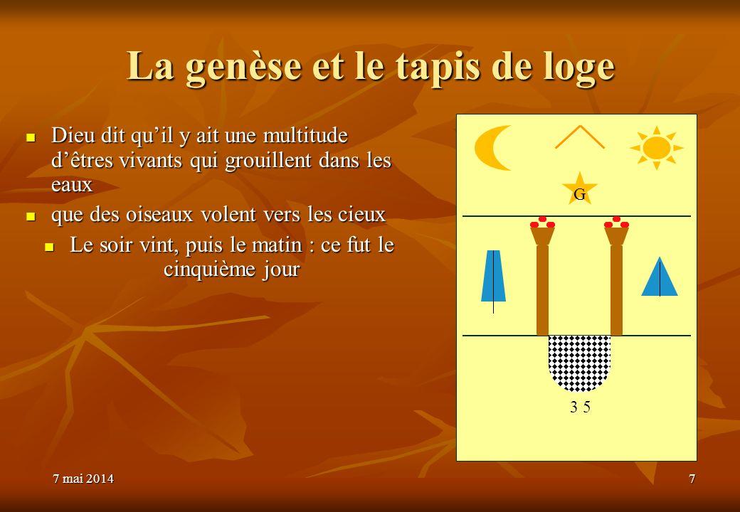 La genèse et le tapis de loge