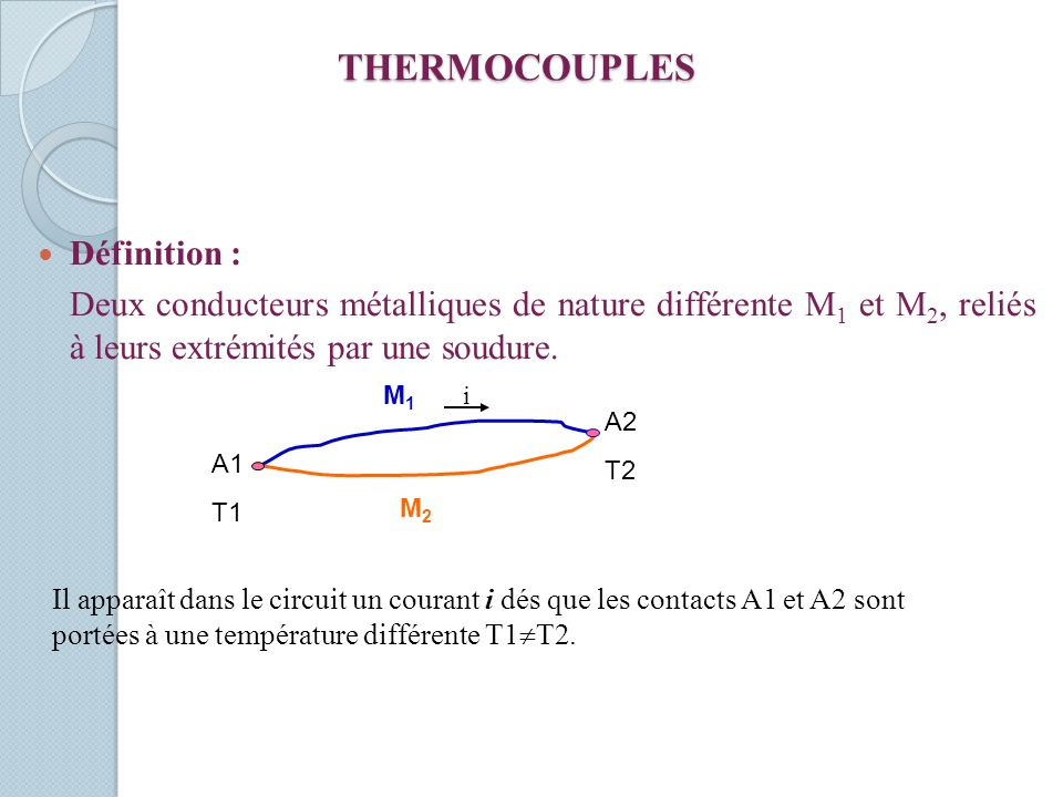 THERMOCOUPLES Définition :