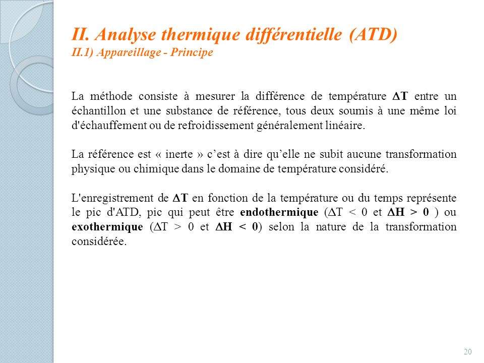 II. Analyse thermique différentielle (ATD)