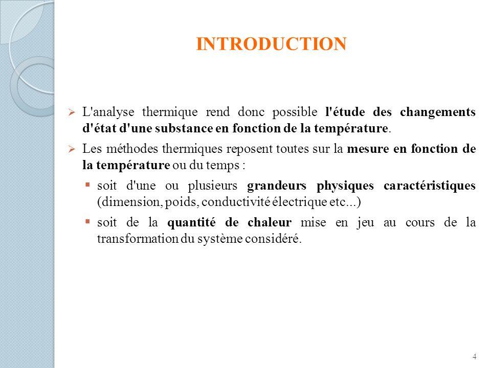 INTRODUCTION L analyse thermique rend donc possible l étude des changements d état d une substance en fonction de la température.
