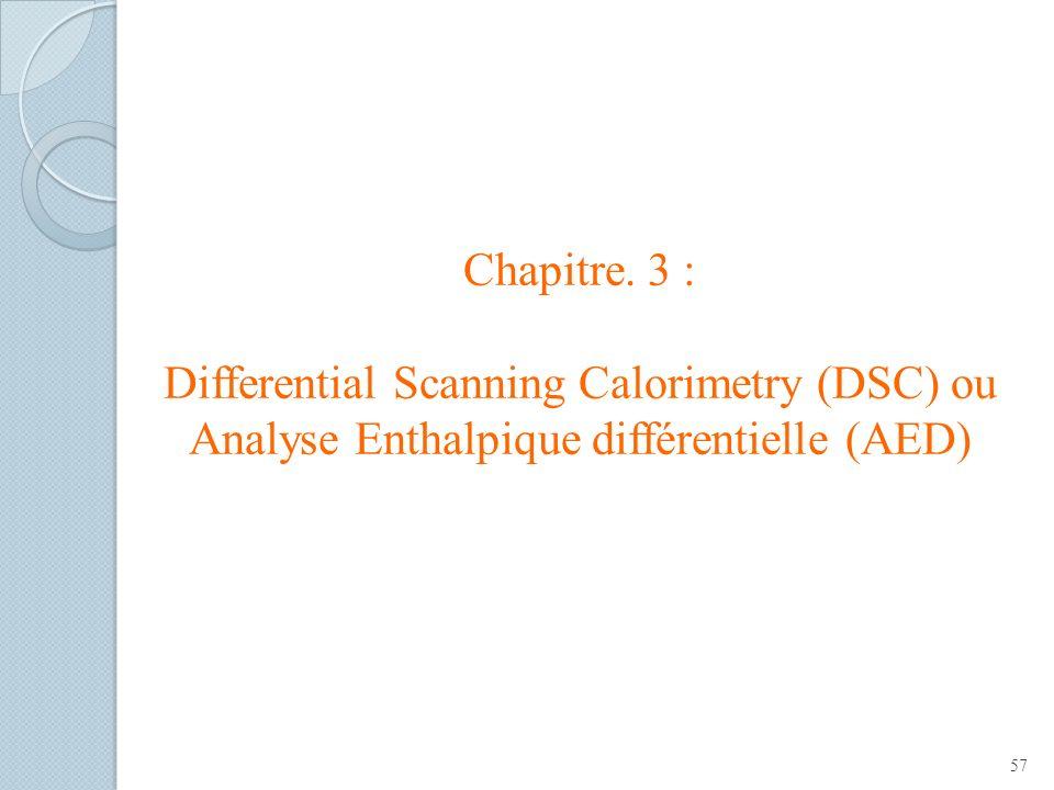 Chapitre. 3 : Differential Scanning Calorimetry (DSC) ou Analyse Enthalpique différentielle (AED)