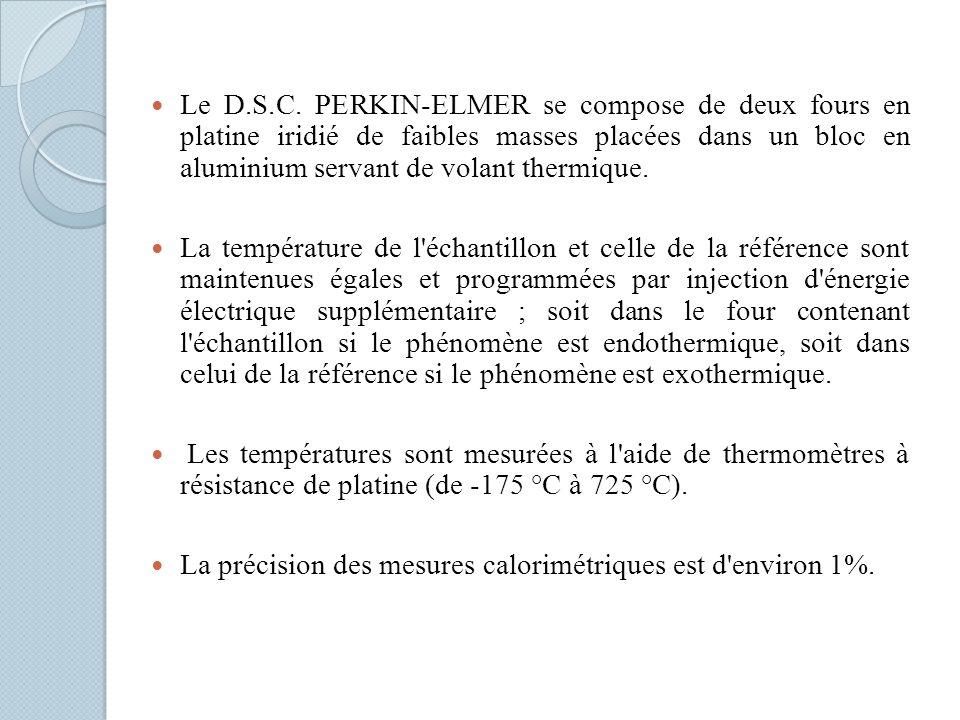 Le D.S.C. PERKIN-ELMER se compose de deux fours en platine iridié de faibles masses placées dans un bloc en aluminium servant de volant thermique.