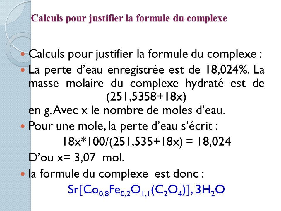 Calculs pour justifier la formule du complexe